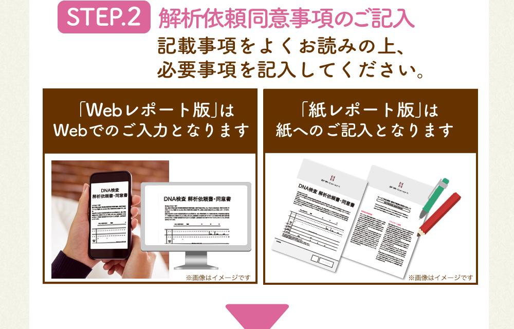 STEP.2 解析依頼同意事項のご記入 記載事項をよくお読みの上、必要事項を記入してください。 「Webレポート版」はWebでのご入力となります。「紙レポート版」は紙へのご記入となります。